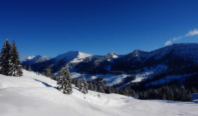 горы, гора, заснеженные, горах, снежные, winter, заказать, art, агунг, стену,