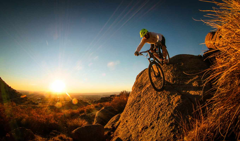 гора, bike, взгляд, мужчина, велосипед, велосипедист, спорт,