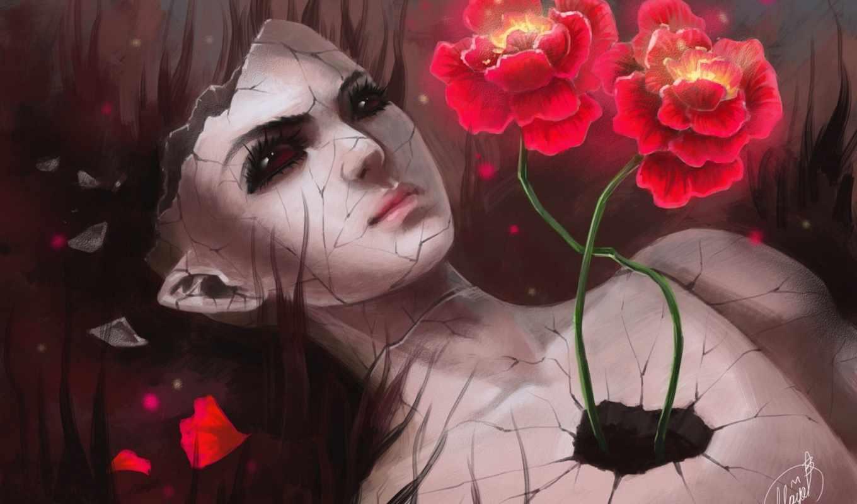 девушка, art, разбитая, сюрреализм, doll, цветы, трещины, разное,