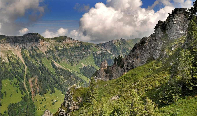 горы, долина, телефон, швейцария, страница,
