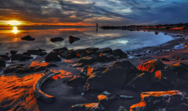 закат, небо, rock, пляж, ocean, тема