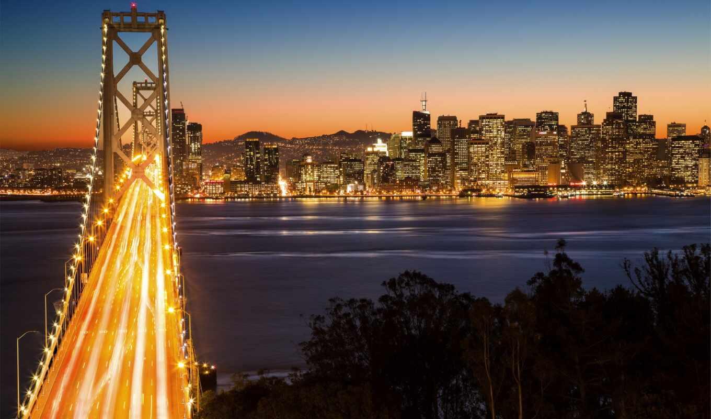мост, bay, francisco, город, san, ночь, oakland, cityscape, небо, buenon