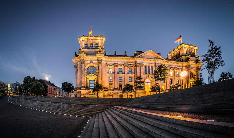 berlin, германия, ночь, reichstag