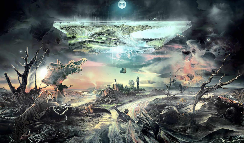 мир, перевернулся, жизнь, животные, крокодил, река, деревья, креатив, тигр, фантазия, люди, скалы,
