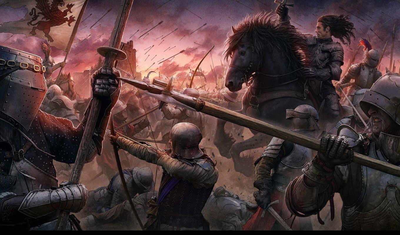 beyit, kerem, battle, knights, middle, ages, sunset, castle, style, medieval, всадники, стрелы, оружие, кони, знамена, воины, рыцари, копья, замок, мечи, луки, доспехи,