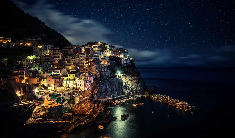 ночью, италия, огни,
