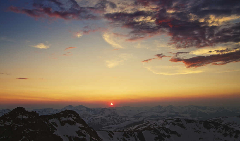 кордильеры, горы, закат, солнце, облака, небо, картинка,