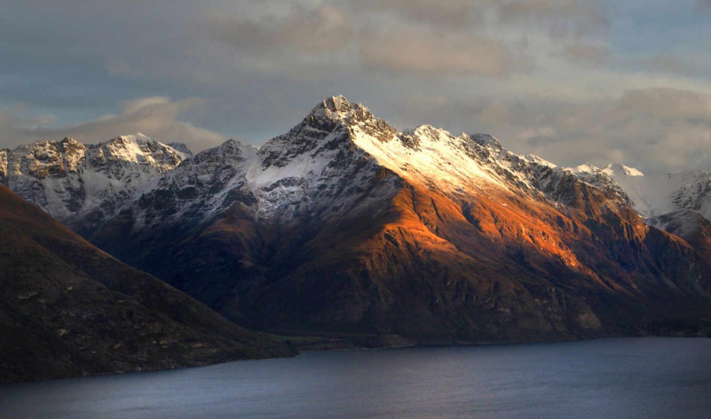 горы, новая, zealand, new, снег, новой, озеро, winter, зеландии, walter,