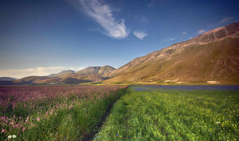 природа, горы, landscape, тропинка, italy, телефон, категории, луг, цветы,