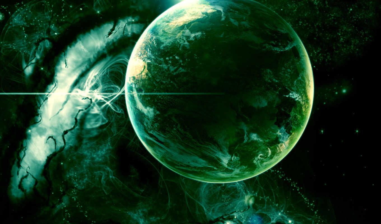 planet, зелёная, cosmos, космосе,
