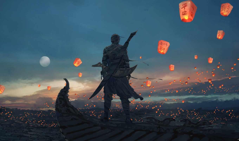 wlop, небо, lanterns, deviantart, art, меч, луна, fantasy, am, lantern, digital,