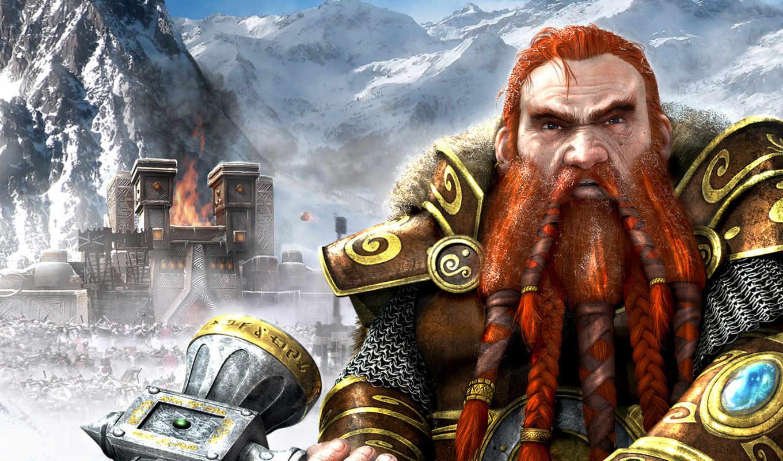 горы, фэнтези, молот, гном, город, оружие, крепость, снег, руны, огонь, доспехи, heroes, might, картинка, magic,