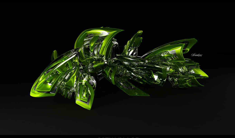 завитушка, зелень, черный, фон,