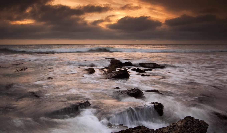берег, камни, океан, beach, сша, калифорния,