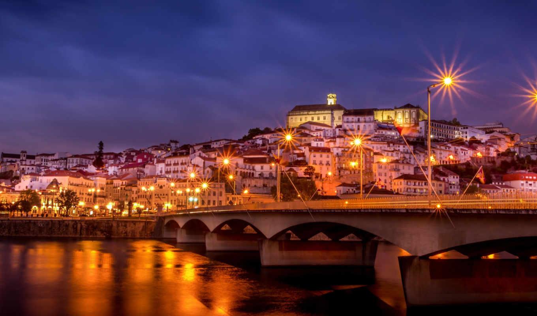 город, ночь, мост, фонари,