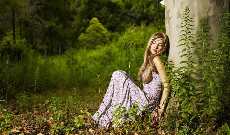лес, lady, женщина, под, stock, фото, sitting, дерево, дождь, девушка, tropical,