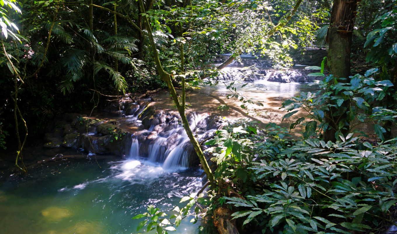 природа, водопады, каскад, página, mexico, agua, azul, para,