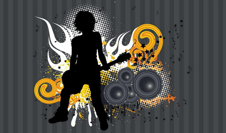 музыка, гитара, девушка, креатив, колонки, art,