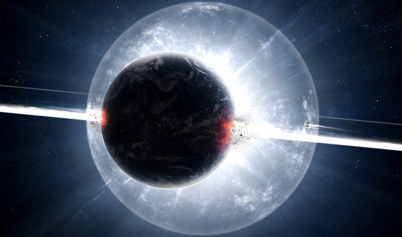 planet, exploding,
