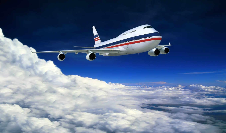самолёт, небо, desktop, boeing, облака, авиация, plane, background, картинка, nature, scenery, season, еще, от,
