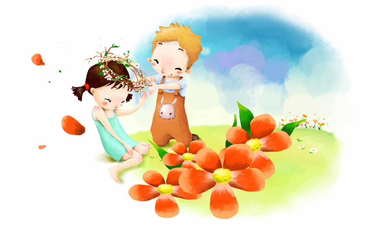 нарисованные, дети, девочка, мальчик, венок, цветы, смущение, улыбка, небо, лепестки