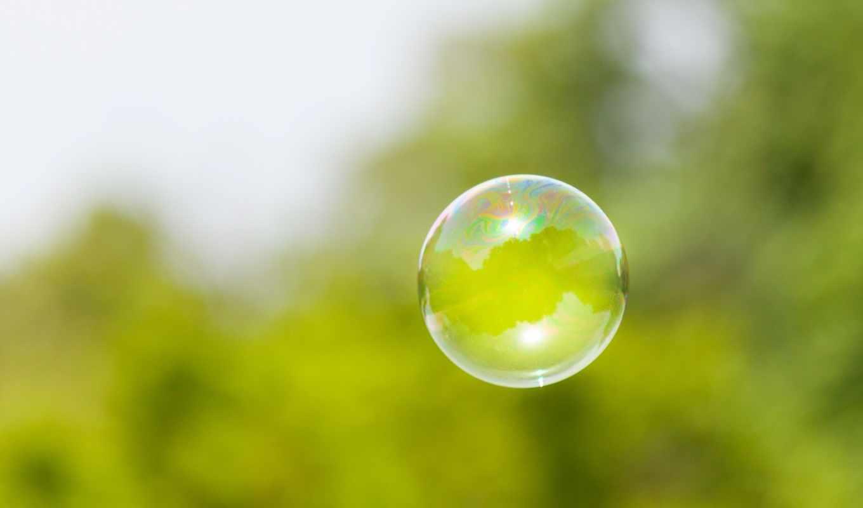 пузырь, фокус, небо, деревья, зелёный