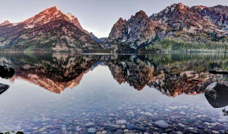 озеро, дженни, wyoming, отражение, grand, teton, титон,