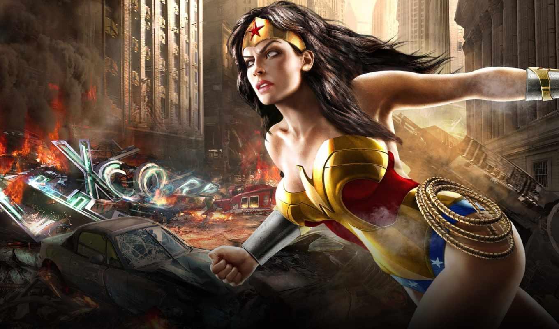 женщина, wonder, игры, рисованные, universe, warrior,