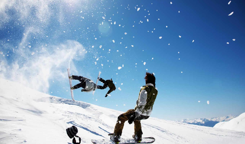 снег, сноуборд, winter, небо, горы, прыжок,