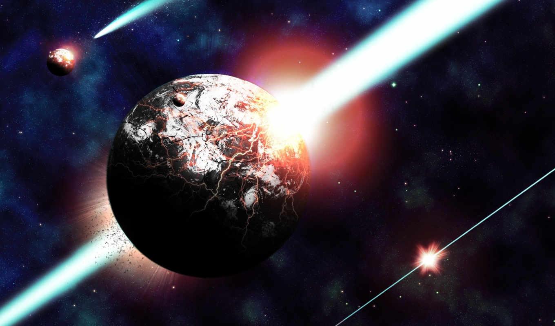 cosmos, уничтожение, планеты, трещины, land, темы, windows, art,