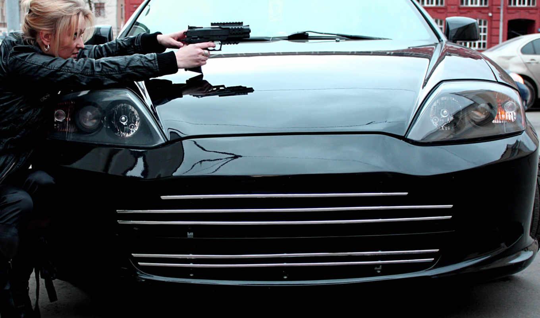 машина, devushki, черная, оружие, город, shelter, девушка, ствол,