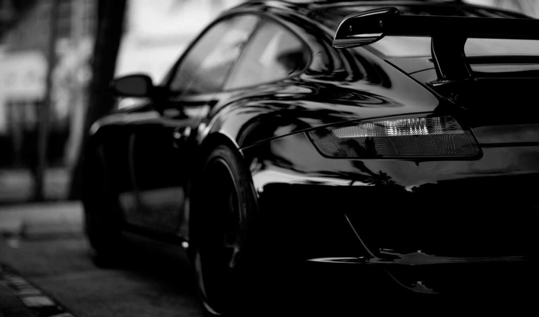 porsche, black, car,
