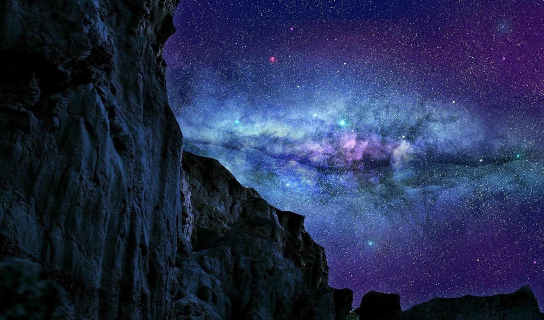 galaxy, telefon, tapeta, небо, звезды, tỏa, cytaty,