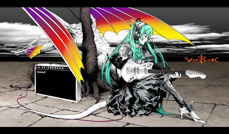 гитара, усилитель, hatsune miku, vocaloid
