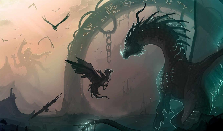 драконы, art, всадник, monster, арка, детёныш, гигант,