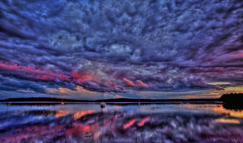 blissful, лодка, небо, закат, oblaka, water, природа, unbelievably,