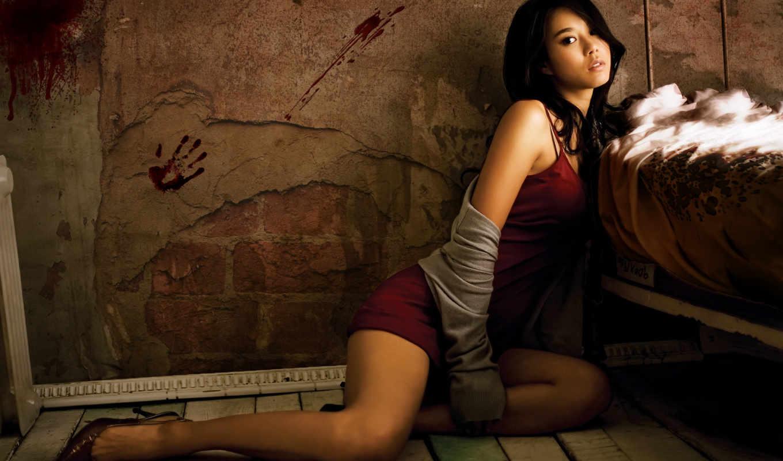 девушка, азиатка, модель, devushki, красная, азиатская, спальне, одежда,