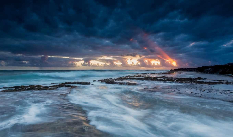ocean, hawaii, побережье, сша, берег, ночь, usa, спокойствие, небо,