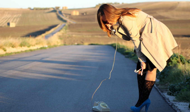 телефон, девушка, дорога, обстановка,