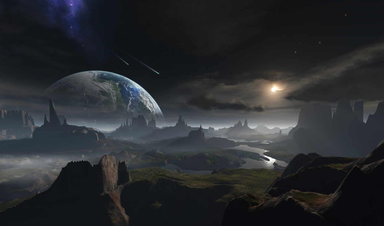 арт, поверхность, планета, обои, космос, река, мет