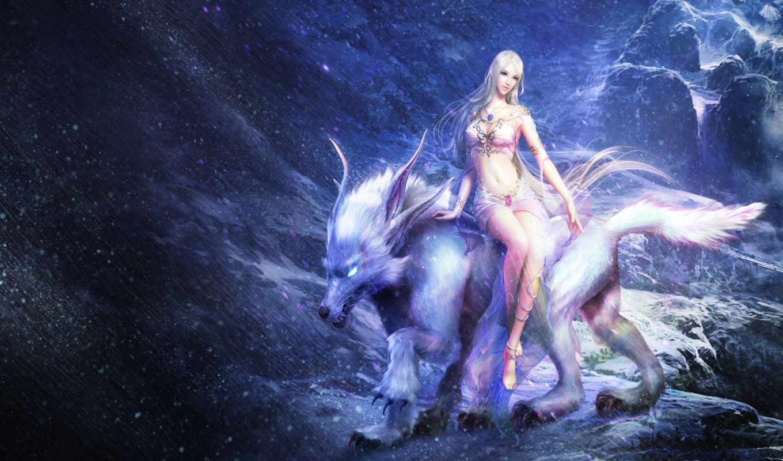 девушка, зверь, горы, фэнтези, снег, скалы, forsaken, world, метель, картинка,