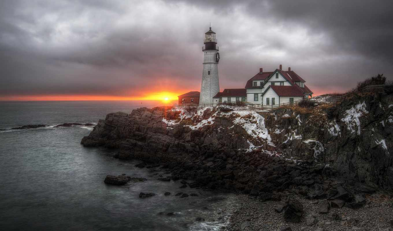 elizabeth, cape, maine, море, united, states, маяк, картинка, картинку,