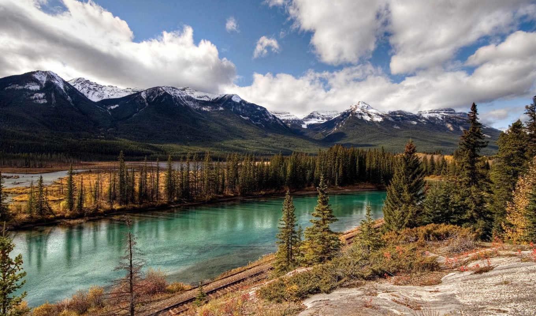 railway, река, горы, banff, national, park, pacific, деревья, елки, canada, дорога, background,