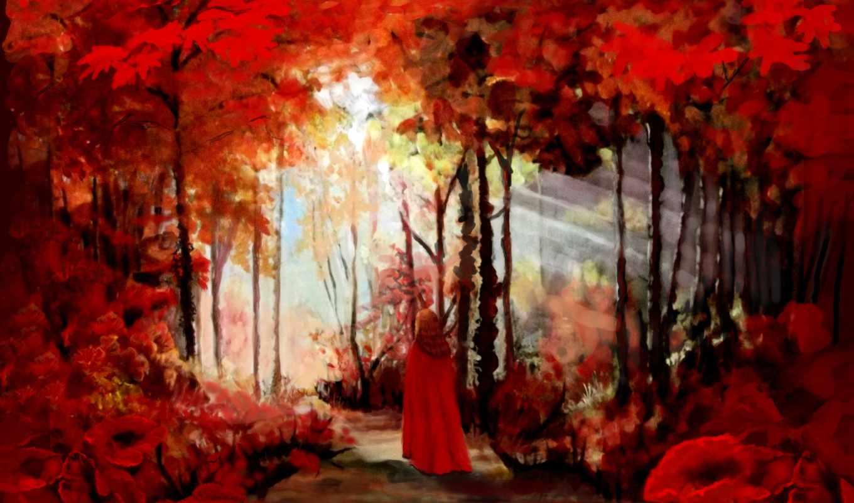 леса, коллекция, осень, sun, природа, живопись, дороги,