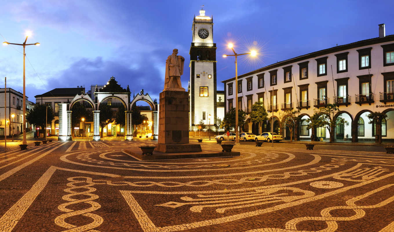 площадь, ponta, португалия, portas, cidade, со, delgada, статуей,