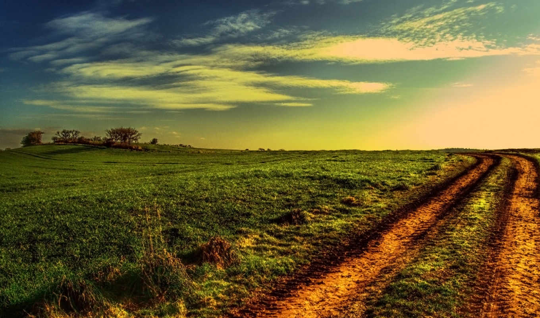 поле, дорога, закат, дек,