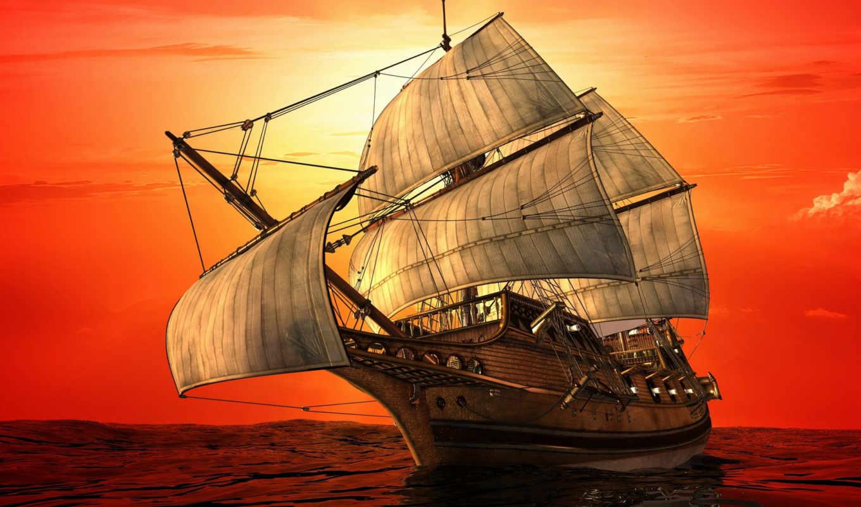 фрегат, морю, парусник, floats, fone, неба, солнца, разных, багряного,