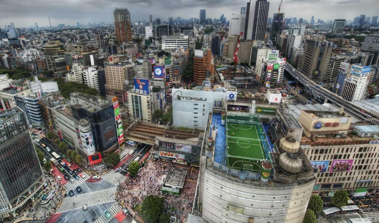 поле, футбольное, крыше, tokio, небоскрёба, japanese,