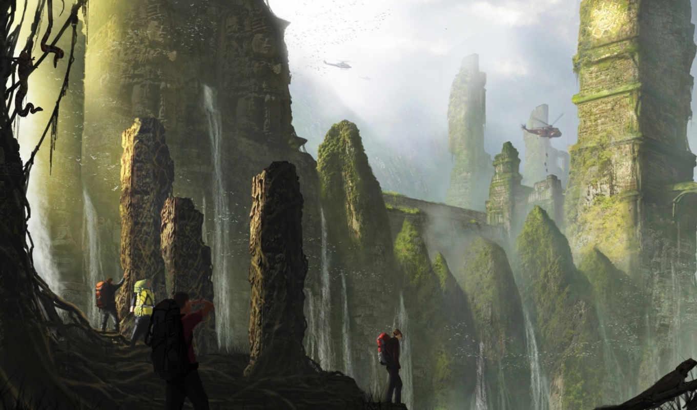 reisende, expedition, kunst, ruinen,