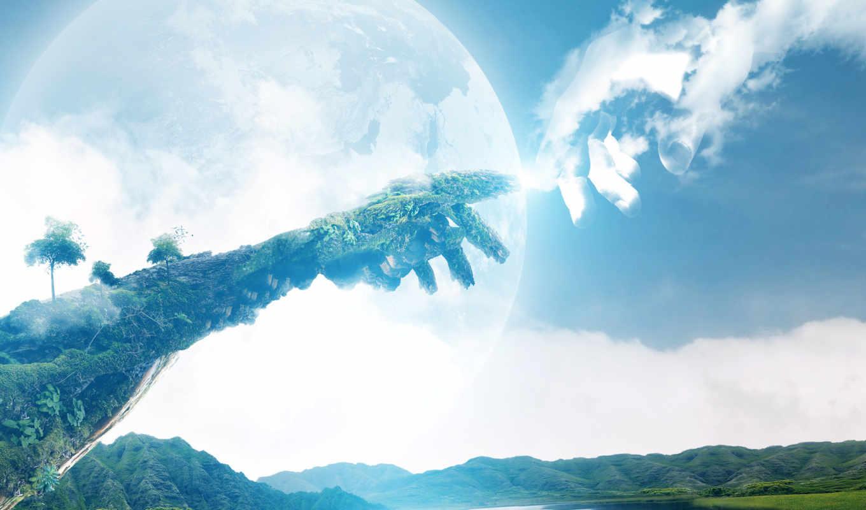 природа, небо, earth, руки,